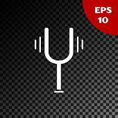 White Musical Tuning Fork For Tuning Musical Instruments Icon Isolated On Transparent Dark Backgroun poster