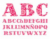 Spanish Alphabet, Pink Flowers, Font, Vector.  Uppercase Letters Of The Spanish Alphabet With Serif. poster