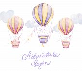Adventure Begin. Colorful Air Balloons Flying In Sky, Clouds, Ribbons. Lettering. Kids Prints. Newbo poster
