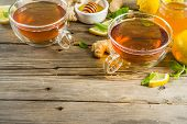 Autumn Tea With Mint And Lemon With Ingredients - Fresh Mint Leaves, Sliced Lemon And Honey, Rustic  poster