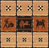 Vector Banner On The Theme Of Ancient Greece In Form Of A Set Of Stone Tiles, Clay Or Ceramic Tiles. poster