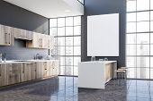 Gray Kitchen Corner With Bar And Poster poster