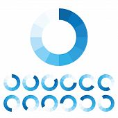 Blue Download Icon Set. Progress Bar Of The Download Process. Site Upload Icon. Vector Illustration poster