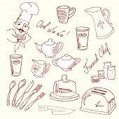Rabiscos de comida deliciosa e um chef lindo. Cozinha francesa.