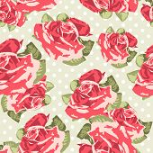 stock photo of english rose  - Beautiful Seamless rose pattern with blue polka dot background - JPG