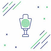Blue And Green Line Human Target Sport For Shooting Icon Isolated On White Background. Clean Target  poster