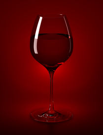 picture of wine-glass  - high resolution rendered wine glass filled with red wine - JPG