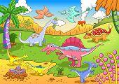 picture of dinosaur-eggs  - Cute dinosaurs in prehistoric scene EPS8 File  - JPG