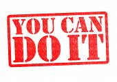 foto of pma  - YOU CAN DO IT rubber stamp over a white background - JPG