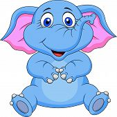 image of tusks  - Vector illustration of cute elephant cartoon sitting - JPG