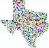 Decorative map of Texas - USA -