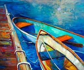 foto of acrylic painting  - Original oil painting of boat and jetty - JPG
