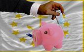 Financiamento Euro em rico mealheiro bandeira do estado americano de Rhode Island