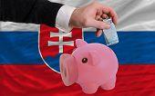 Financiamento Euro em rico mealheiro bandeira nacional da Eslováquia