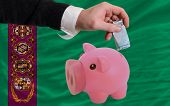 Funding Euro Into Piggy Rich Bank National Flag Of Turkmenistan