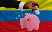 Funding Euro Into Piggy Rich Bank National Flag Of Venezuela