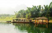 Boat On The River Li In  Guilin Yangshou China