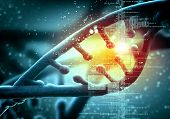 stock photo of biotechnology  - DNA molecule is located in front of a colored background - JPG