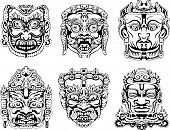 stock photo of durga  - Hindu deity masks - JPG