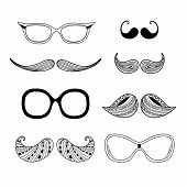 Hipter Glasses, Mustaches Hipsters