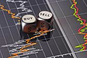 Dices Cubes To Trader. Cubes With The Words Sell Buy On Financial Chart As Background. Selective Foc