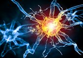 stock photo of nerve cell  - Illustration of a nerve cell on a colored background with light effects - JPG