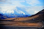 Mount McKinley with Denali park road in foreground