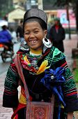 Black Hmong woman in traditional clothes, Sapa, Vietnam