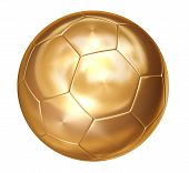 Gold Soccer Ball On White Separated