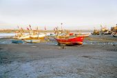 Grounded Boats In Sunset Gujarat India