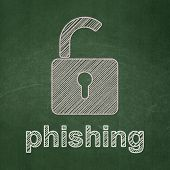 Privacy concept: Opened Padlock and Phishing on chalkboard background