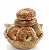 foto of bagel  - Bagels In A Basket On White Background - JPG