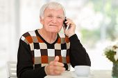 cheerful senior man talking on cell phone at home