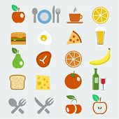 Vector Food Icons Set In Flat Style