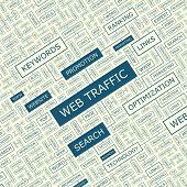 WEB TRAFFIC. Word cloud concept illustration. Word cloud collage. Vector illustration.