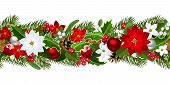 stock photo of poinsettias  - Vector Christmas horizontal seamless background with fir - JPG