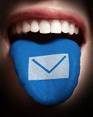 Woman With Open Mouth Spreading Tongue Colored In Email Icon As Concept