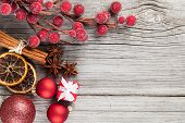 Christmas Decoration On Wood Background, With Free Space For Your Text