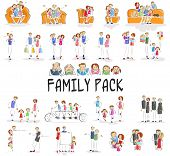 image of grandparent child  - vector illustration of family pack with character doing different activities - JPG