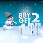 Snowman With Magic Wand And Buy Two Get One Free Label