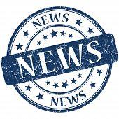 News Grunge Blue Round Stamp