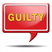 guilty and convicted for a crime in court