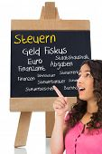Composite image of surprised brown haired woman pointing out a blackboard with german terms with tax