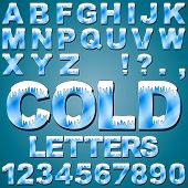 An Alphabet Set of Cold Letters and Numbers with Snow and Ice