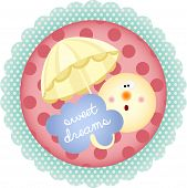 image of goodnight  - Scalable vectorial image representing a sweet dreams round label - JPG