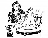 stock photo of homemaker  - Lady Doing Laundry  - JPG