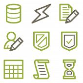 Database icons, green line contour series