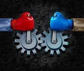 stock photo of merge  - Strategic alliance and corporate partnership or business teamwork concept with two rival businessmen with boxing gloves merging together to form a competition cooperation moving gears and cogs for financial success - JPG