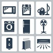 pic of ventilator  - Vector major appliances icons set over white - JPG
