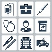 stock photo of infirmary  - Vector isolated medical icons set over white - JPG